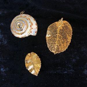 3 Vintage Gold-leaf Charms.